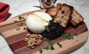 Burrata with Blueberry Chutney and Mint