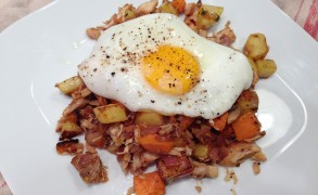 2-Timer Potato Hash with Chicken & Eggs